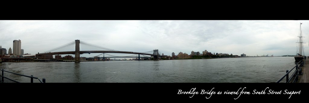 Brooklyn Bridge Panorama - from South Street Seaport, NYC