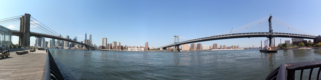 Brooklyn and Manhattan Bridges from DUMBO - NYC Skyline