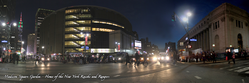 Madison Square Garden at Night Panorama - Empire State Building