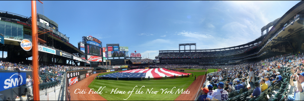 Citi Field Panorama - Opening Day American Flag from Left Field