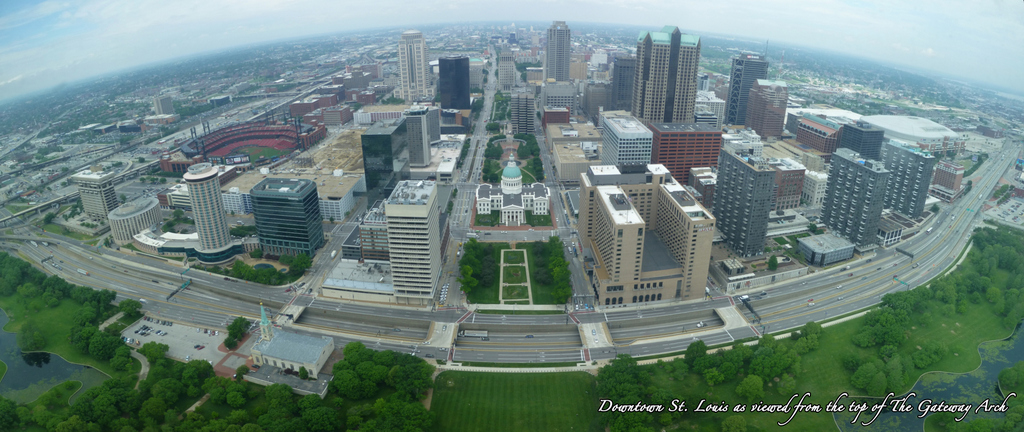 Downtown St. Louis as viewed from the top of The Gateway Arch