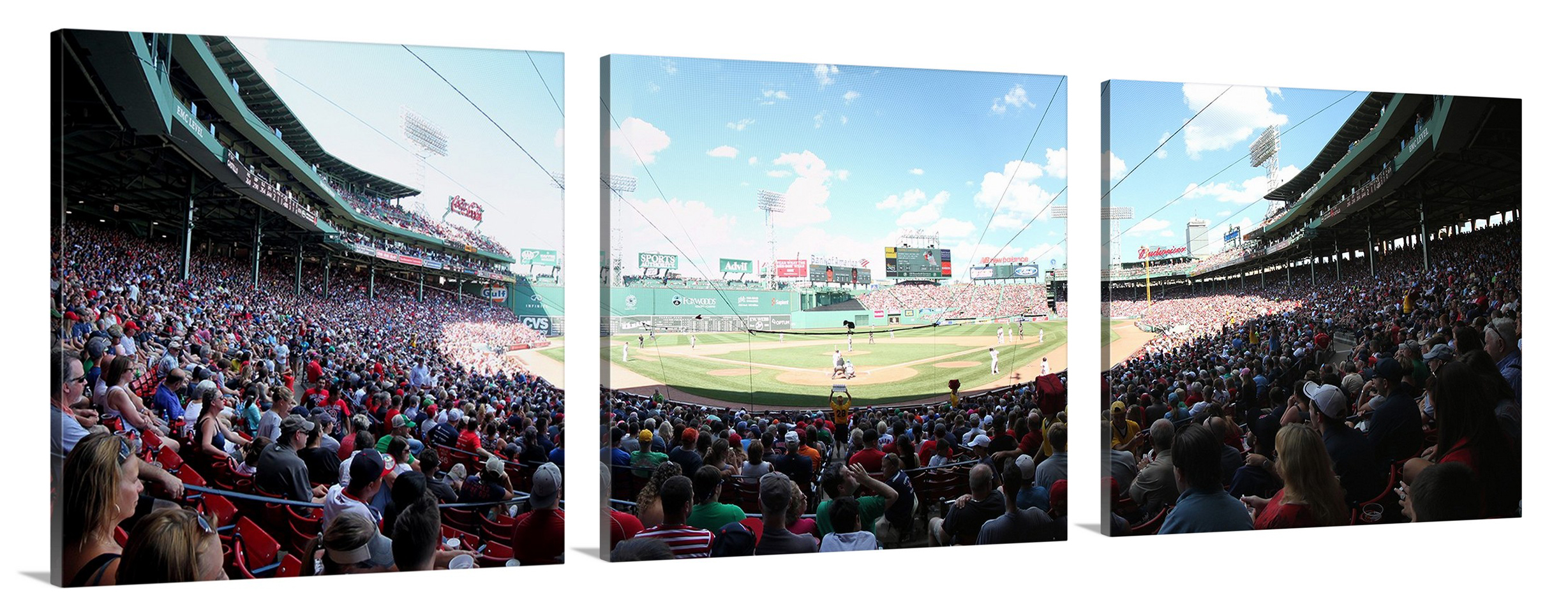 Fenway Park Panorama Boston Red Sox Home Plate During Game