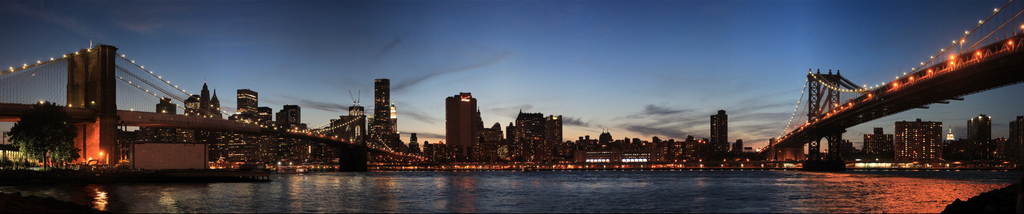 Brooklyn and Manhattan Bridges at Night - NYC Skyline