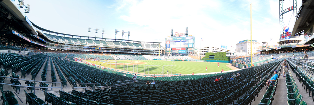Comerica Park Panorama - Detroit Tigers - Lower Right Field View