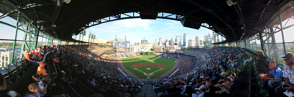 Comerica Park Panorama - Detroit Tigers - Home Plate Upper Box