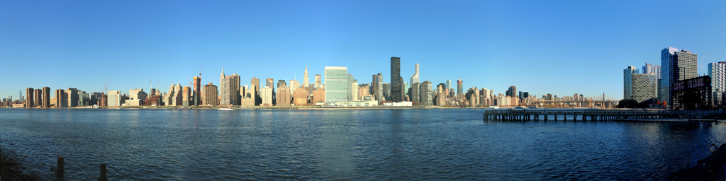 NYC Skyline Panorama - Gantry Plaza State Park Transfer Bridge