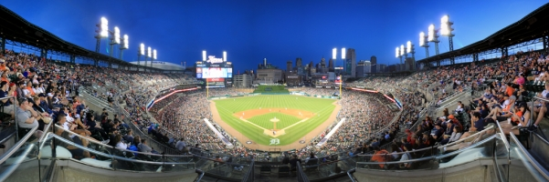 Comerica Park Panorama - Detroit Tigers - Upper Box Twilight