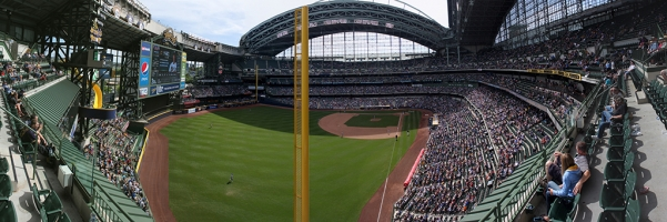 Miller Park Panorama - Milwaukee Brewers - Left Field Foul Pole