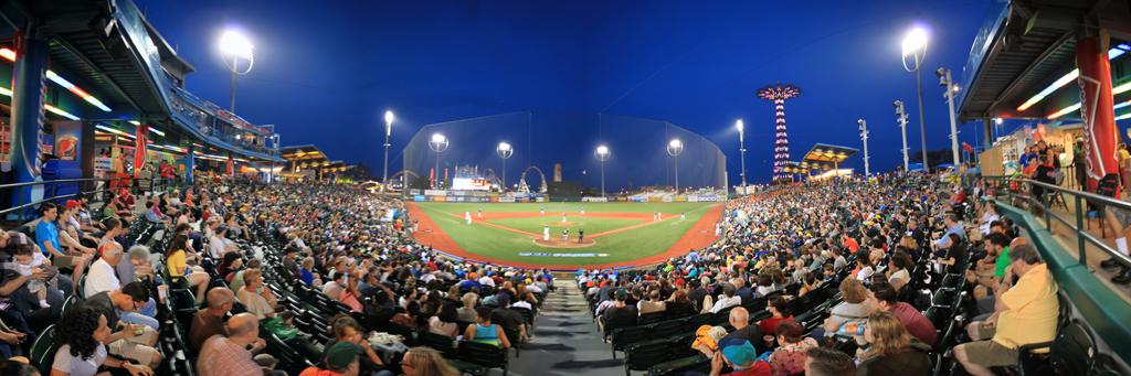 Brooklyn Cyclones MCU Park Panorama with the7Line Night