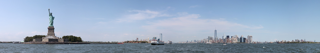 Statue of Liberty and New York City Skyline Panorama