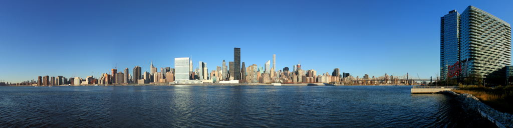 NYC Skyline Panorama from Long Island City near Pepsi Sign