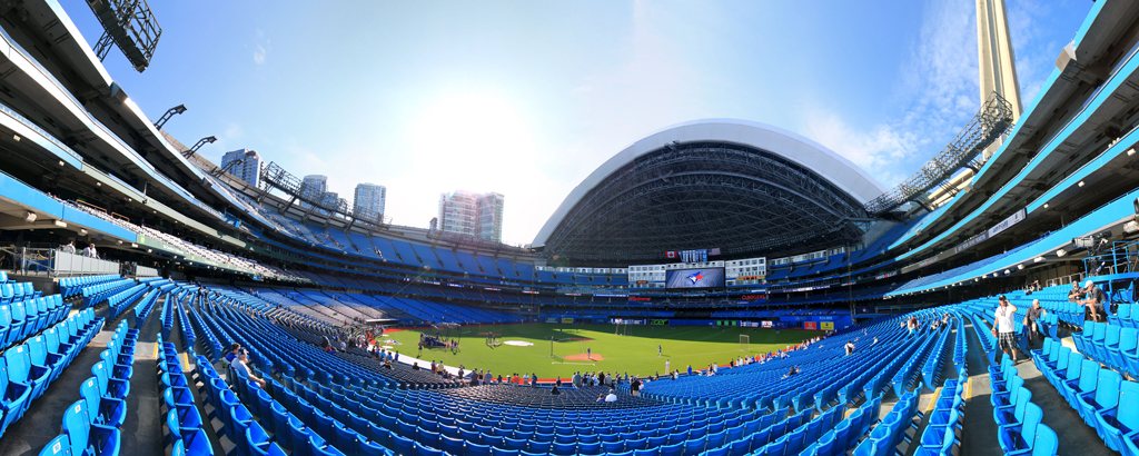 Rogers Center Panorama - Toronto Blue Jays - 1B View - Roof Open
