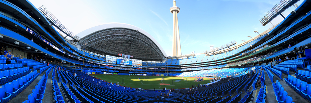 Rogers Center Panorama - Toronto Blue Jays - 3B View - Roof Open