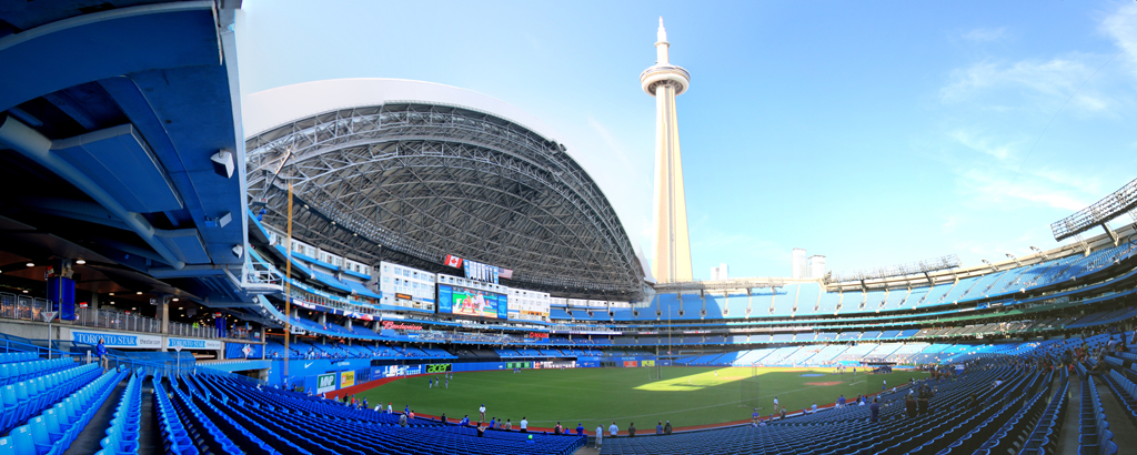 Rogers Center Panorama - Toronto Blue Jays - LF View - Roof Open